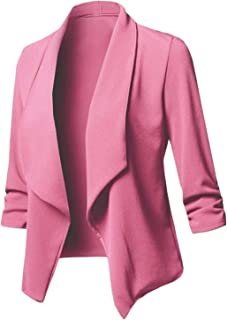 Autumn Women Blazer Fashion Solid Turn Down Collar Casual Jacket Coats Office Wear Ladies Pink Blazer