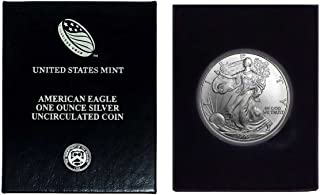 1999 - American Silver Eagle in Plastic Air Tite and Blue Gift Box with our Certificate of Authenticity Dollar Uncirculated Us Mint