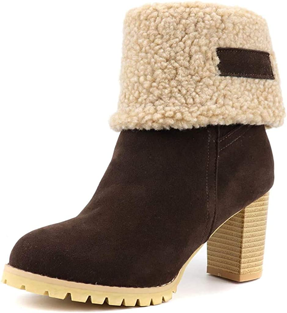 Women's Warm Fur Snow Ranking TOP8 Ankle Boots Chunk Toe Max 43% OFF Suede Round Platform