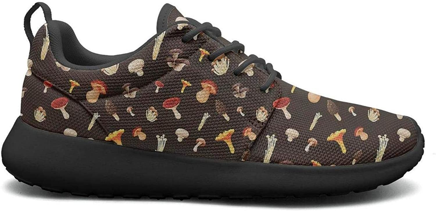 Gjsonmv All Kinds of Mushrooms mesh Lightweight shoes for Women lace up Sports Tennis Sneakers shoes