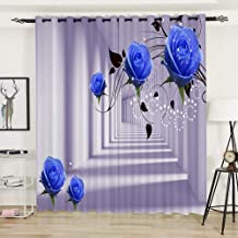AiiHome Floral Curtains, Printed Blackout Curtains with Blue Roses and Art Gallery HD Patterns, Grommet Curtains for Living Room Bedroom, 2 Panels, 52 X 54 Inch, Blue