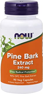 NOW Supplements, Pine Bark Extract 240 mg, 90% OPC Pine Bark Extract, (from the Inner Bark of Chinese Red Pine), 90 Veg Ca...