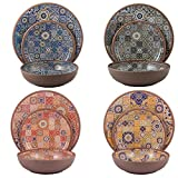 Melange 12-Piece Melamine Dinnerware Set (Moroccan Tiles) | Shatter-Proof and Chip-Resistant Melamine Plates and Bowls | Color: Multicolor | Dinner Plate, Salad Plate & Soup Bowl (4 Each)