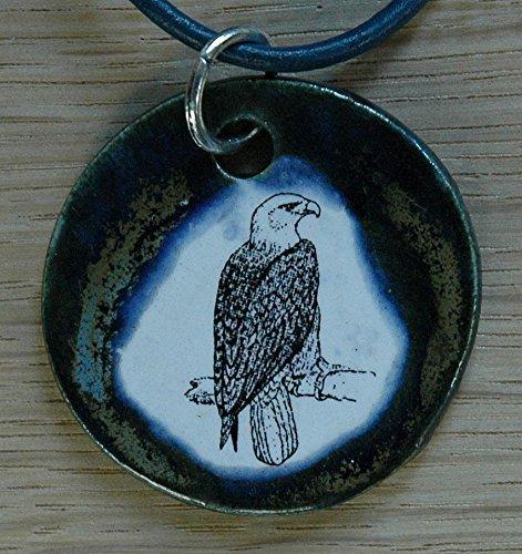 Echtes Kunsthandwerk: Toller Keramik Anhänger mit einem Adler; Kette Kettenanhänger, Keramikanhänger, Halskette, Kinder, Damen, Modeschmuck, Collier, Geschenk,...