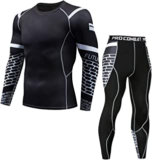 Fitness Suit for Mens Casual Fitness T-Shirt Fast Drying Elastic Tops Pants Sports Tight Suit