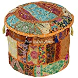 Stylo Culture Cotton Tuffet Hassock 16' Patchwork Embroidered Ottoman Stool Pouf Cover Yellow Floral Footstool Floor Cushion Ethnic Decor Bean Bag Living Room