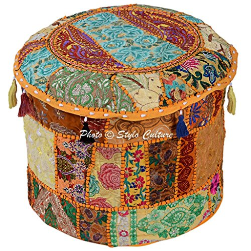 Stylo Culture Traditional Handmade Cotton Patchwork Embroidered Ottoman Stool Pouf Cover Floral Yellow Bean Bag 45 cm Fabric Seat Footstool Floor Cushion Ethnic Decor Bean Home
