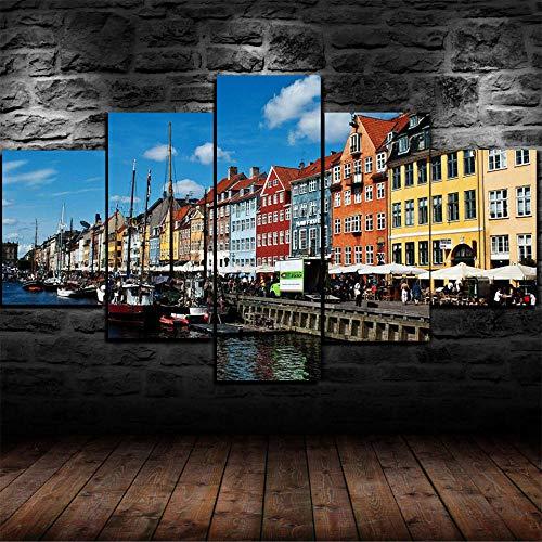 GIRDSS Leinwanddrucke Kreatives Geschenk 5 Stück Leinwand Moderne Wandbilder XXL Wohnzimmer Wohnkultur Gerahmtes * Posterkopenhagen Dänemark Städtebau Verkehr