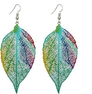 MIXIA Bohemia Vintage Colorful Natural Leaf Dangle Earrings Print Flower Drop Earrings for Women