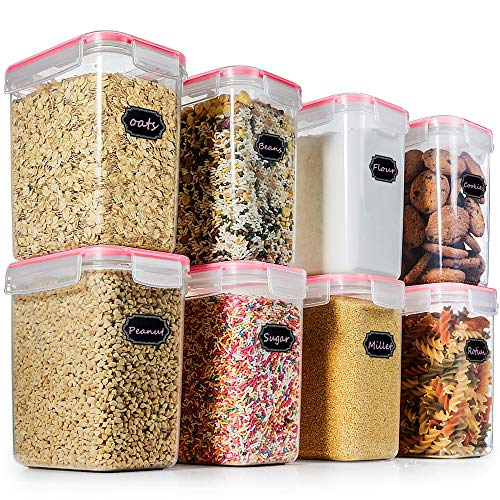 Food Storage Containers Cereal Container - Blingco Set of 8 Airtight Containers with Lids - BPA Free Plastic for Flour, Sugar, Cereal and Pantry Storage Containers - Includes 20 FREE Chalkboard Labels