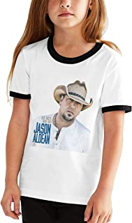 Jason Aldean Old Boots,New Dirt Cotton Girls Boys T Shirt Adolescent Youth Contrast Color Hot T-Shirt Black