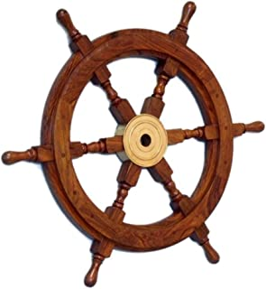 Hampton Nautical Deluxe Class Wood and Brass Decorative Ship Wheel 18