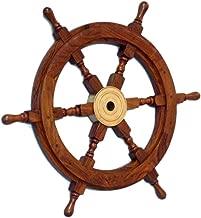 Hampton Nautical  Deluxe Class Wood and Brass Decorative Ship Wheel 18