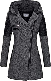 Women's Hooded Oblique Zipper Casual Stitching Outwear Trench Coats