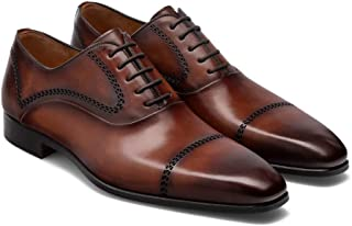 Costoso Italiano Brown Leather Formal Lace Up Brogue Oxford Goodyear Welted Shoes for Men