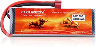 Floureon 2S Lipo Battery 7.4V 3300mAh 35C Li-Polymer Lipo RC Battery Packs with T Plug Connector for RC Airplane RC Helicopter RC Car RC Truck RC Boat UAV Drone FPV(1Pack)