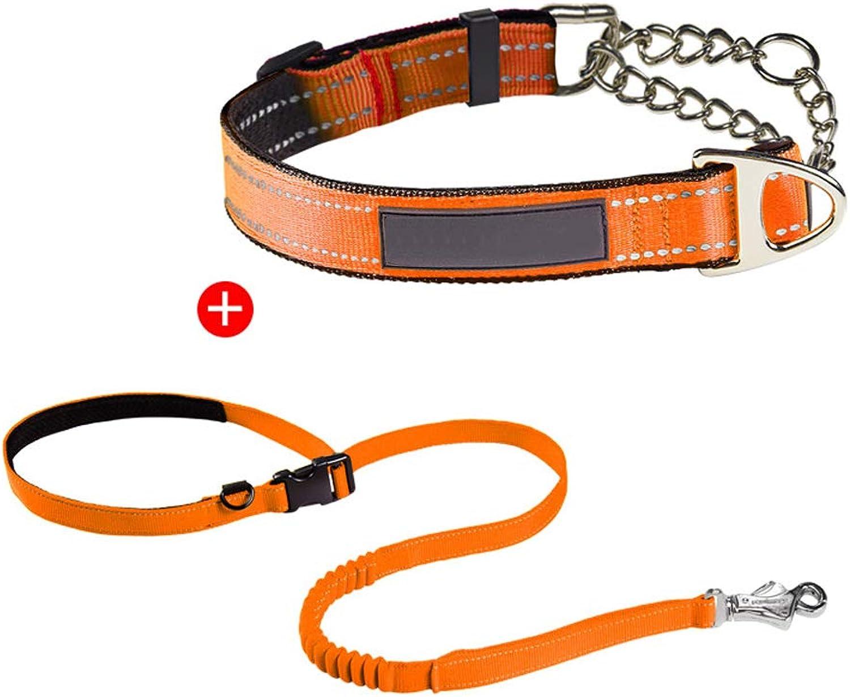 Chain Dog Collar Dog Collar Large Medium Dog ExplosionProof Neck Collar Stainless Steel Antibite Adjustable (Edition   F, Size   M)