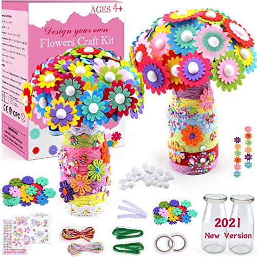 Art and Craft Kit for Kids Make Your Own Flower Bouquet with Buttons and Felt Flowers, Childrens Toys DIY Flower Craft Kit, Birthday Gift for Girls Age 6 7 8 9 10 11 12 Years Old