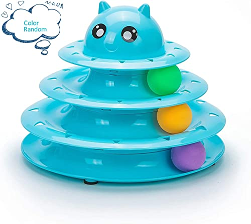 Mumoo Bear Cat Toy Roller 3 Layers Tower Tracks Roller with 3 Colorful Ball Interactive Kitten Fun Mental Physical Ex...