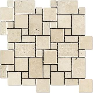 Ivory (Light) Travertine Mini-Versailles Pattern Mosaic, Tumbled