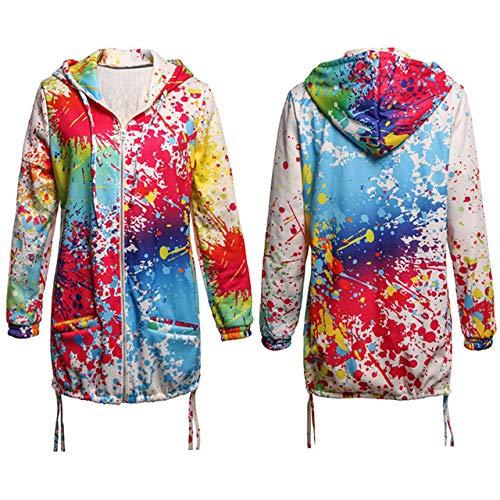 NCKLY Jacke mit Damenprint Frauen Langarm Mit Kapuze Tinte Malerei Bunte Windjacke Parka Mantel Outwear Weiche Kleidung