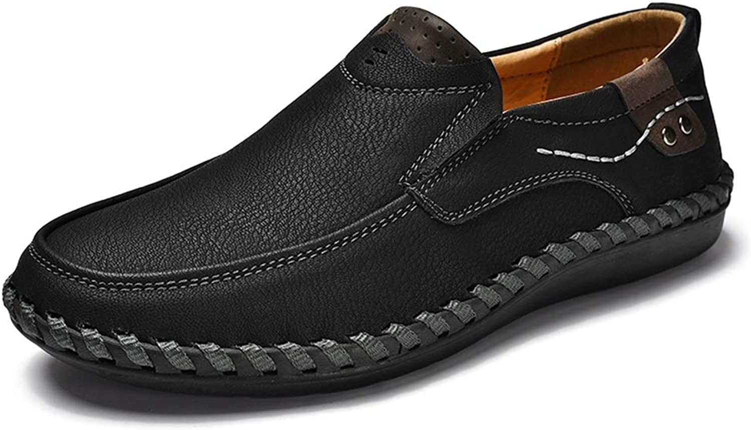 Lightweight Breathable Loafers for Men Microfiber Leather Anti-Slip Flat Casual shoes Lined Slip-on Round Toe Cricket shoes