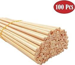 """BangShou 100 stuks Bamboe Dowel staven, 12 x 1/4"""" natuurlijke onafgewerkte Lollipop Craft Sticks voor doe-het-zelf, kunst ..."""