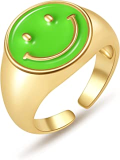 Smiley Face Ring, Gold Plated Colorful 5~6 Size Ring Chunky Ring as Gift for Women Men Girl