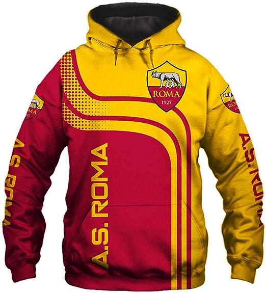 LIULL Sudadera con Capucha De Los Deportes De Fútbol 3D AS.Roma Béisbol Camiseta De La Impresión Digital Adolescentes Uniforme Chaleco A-XXXXL: Amazon.es: Hogar