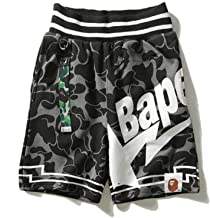 Mulynn Bape Men's Summer Camouflage Letters Cotton Shorts Straight Casual Shorts