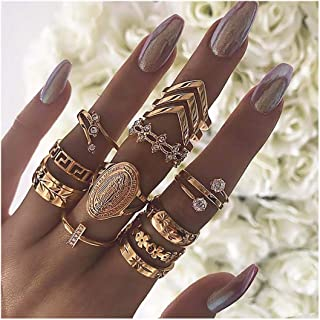 Drecode Vintage Rhinestone Joint Knuckle Ring Set Carving Flower Arrow Mid Gold Boho Retro Stackable Rings for women and Girls(11Pcs)