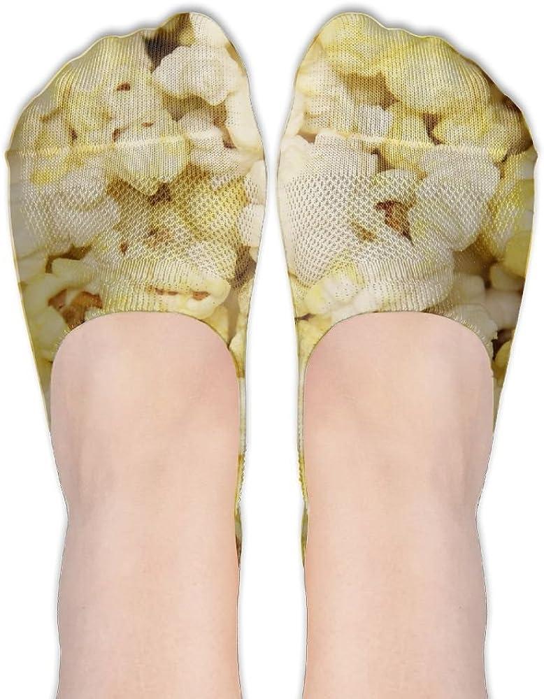 YISHOW Butter Popcorn No-Show Socks Casual Anti Slip Low Cut Crew Boat Sock Hidden Flat Line