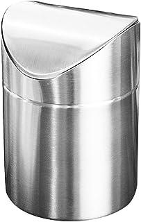 Poubelle à la maison Poubelle de bureau moderne, mini poubelle à clapet en acier inoxydable Poubelle compacte pour poubelle