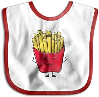 Beard Fries Cartoon Kids Baby Snap Buttons Saliva Towel Lunch Bibs