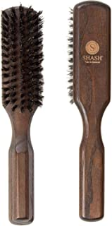 Made in Germany Since 1920 - SHASH Pure 100% Boar Bristle Hair Brush, Firm - Naturally Conditions Hair, Improves Texture - Exfoliates, Soothes and Stimulates the Scalp, Eco-Sourced Ash Wood