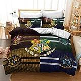 NICHIYO Harry Potter - Juego de cama (funda nórdica y funda de almohada, microfibra, impresión digital 3D, juego de tres piezas, (01,135 x 200) (16,King 220 x 240 cm)