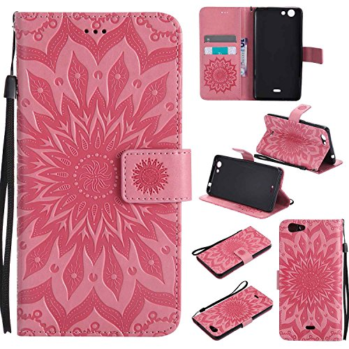 Guran® PU Leder Tasche Etui für Wiko Pulp 3G (5 Zoll) Smartphone Flip Cover Stand Hülle & Karte Slot Hülle-rosa
