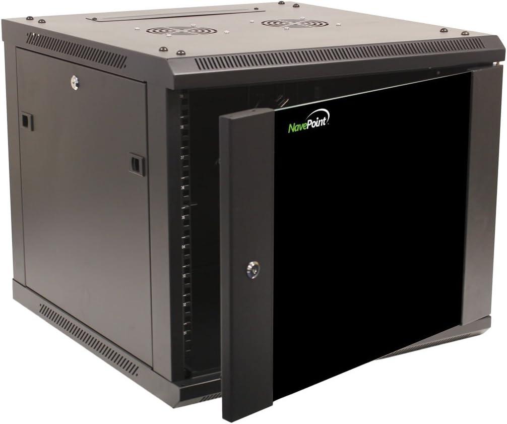 NavePoint 9U Wall Mount Network Server 600mm Depth Cabinet Rack Enclosure Glass Door Lock