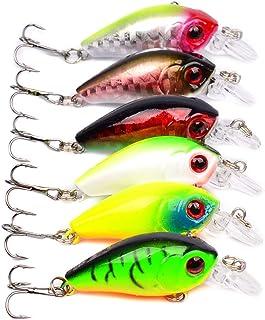 SWECOMZE 6pcs Fishing Lures Minnow Fish Hard Baits Crankbaits Diving Swimbait Bass Trout 1.77'' Freshwater Saltwater 1/8 oz