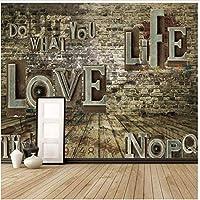 Bosakp カスタム壁紙3D壁画レトロノスタルジックエンボス英語アルファベットテレビ背景壁紙家の装飾3D壁紙 360X250Cm