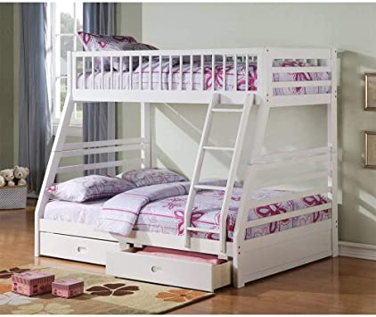 Amazon Com Country Cottage Style White Twin Over Twin Convertible Bunk Bed With Lots Of Built In Drawers For Family Bedroom With Safety Fence And Stairs For Student Dormitory Can Be Sent Locally In The