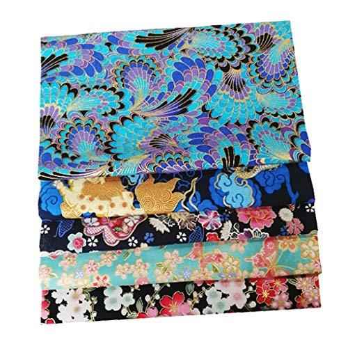 menolana 5pcs Cotton Fabric for Sewing Quilting Fabric Fat Quarters Fabric Bundles Fabrics Floral Fabric Japanese Fabric Patchwork 20x25cm /7.8'' X 9.8'' - Bundle F