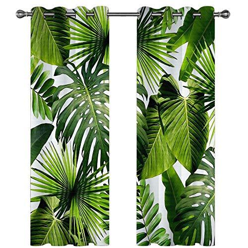 MEKVF Verdunkelungsvorhänge Eyelet Vorhang, 3D Printing Shading Vorhänge Balkon Vorhänge Schlafzimmer Salon Fenster,2 Panel 150x166cm(Wxl) Grüne Dschungelpflanzenblätter
