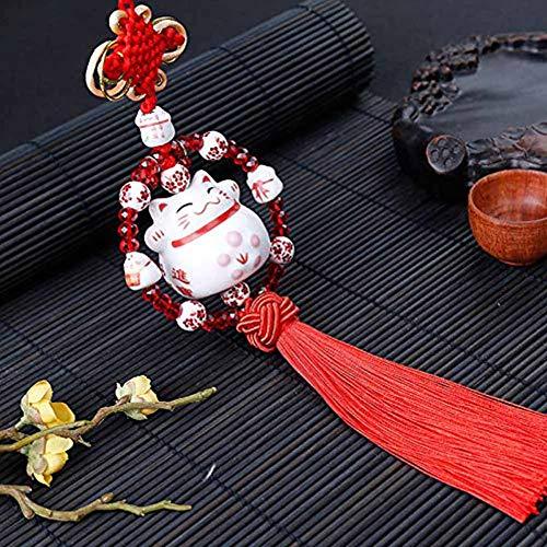 Maneki Neko Feng Shui Colgante con gato Japonés Porcelana tradicional Lucky Charm Gift(Rojo)