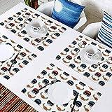 L'sWOW - Estera de aislamiento impermeable para mesa de comedor, equipo de rugby de fútbol americano con elementos Cham, manteles individuales lavables fáciles de limpiar, juego de 6