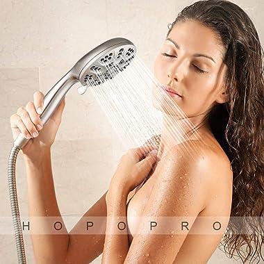 "High Pressure Handheld Shower Head, 6 Spray Settings Full Brushed Nickel Shower Head with Handheld, 4.3"" High Flow Hand H"