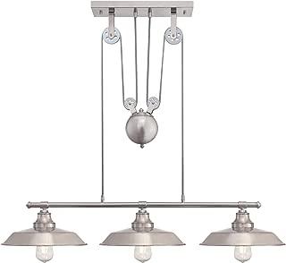 Westinghouse Lighting 6369900 Iron Hill Three-Light Indoor Island Pulley Pendant Light,..