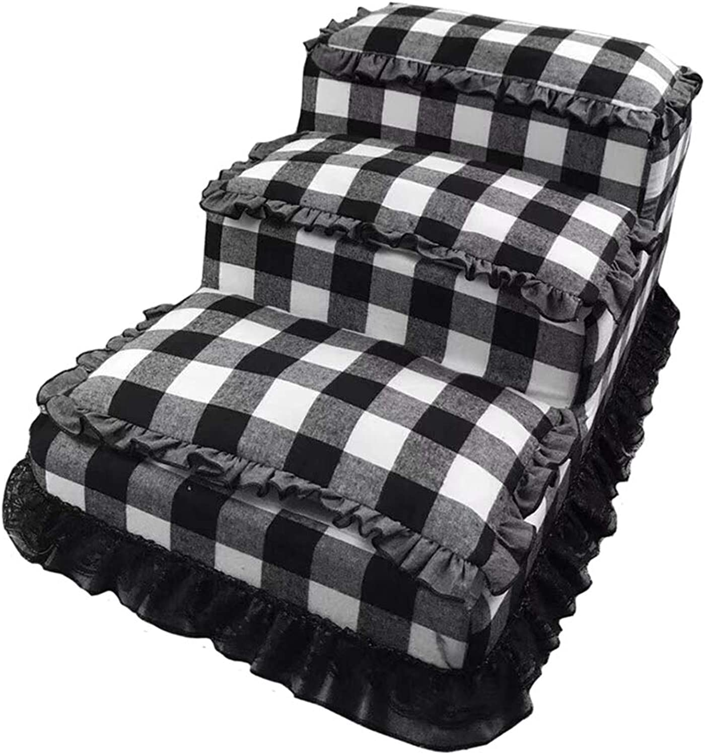 LXLA  Pet 3 Step Stairs for Dog Cat, Portable, Removable Washable, Black and White Grid, 60 × 40 × 33cm
