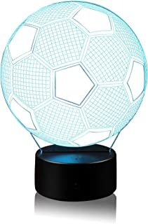 Soccer Night Light Lamp with 7 Color Change, Touch Base,...