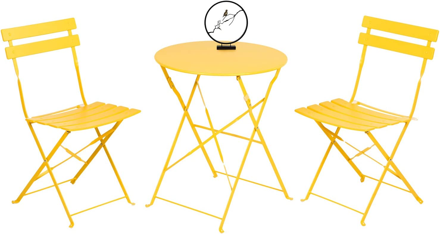 Grand patio 3 Piece Bistro Set, Weather-Resistant Folding Table and Chairs, Indoor/Outdoor Furniture Set (Yellow)